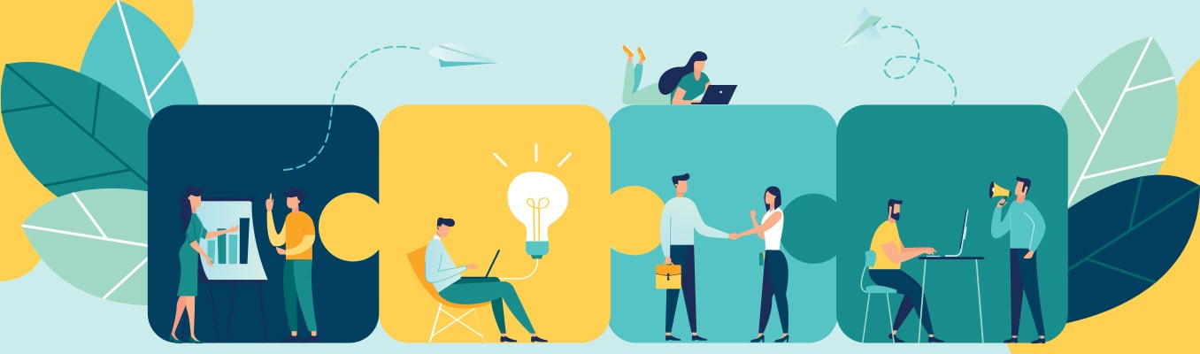 illustration of different people working on new ideas