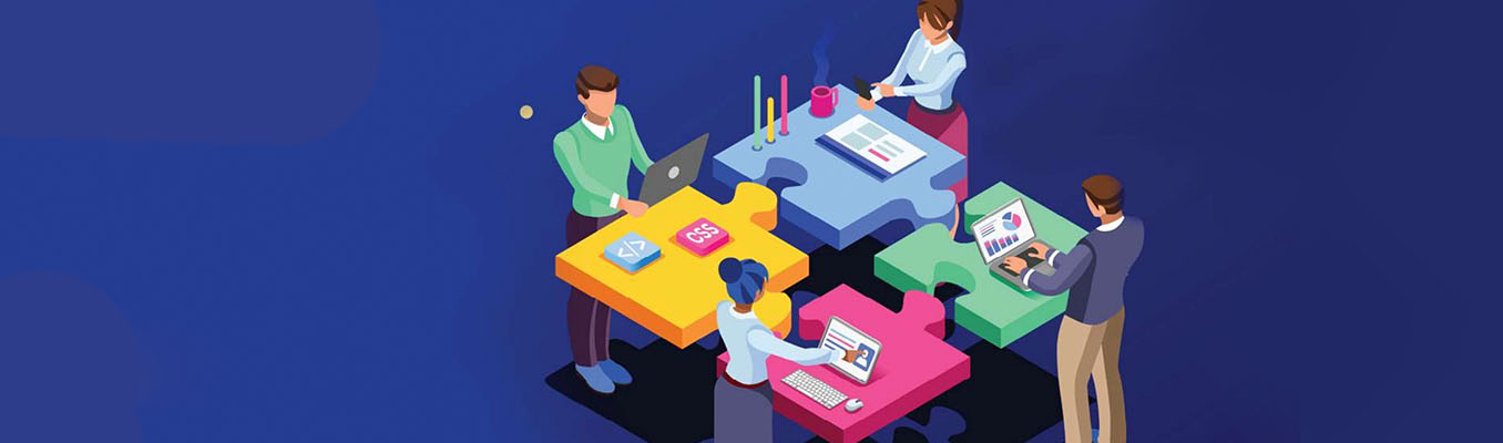 illustration of four employees working