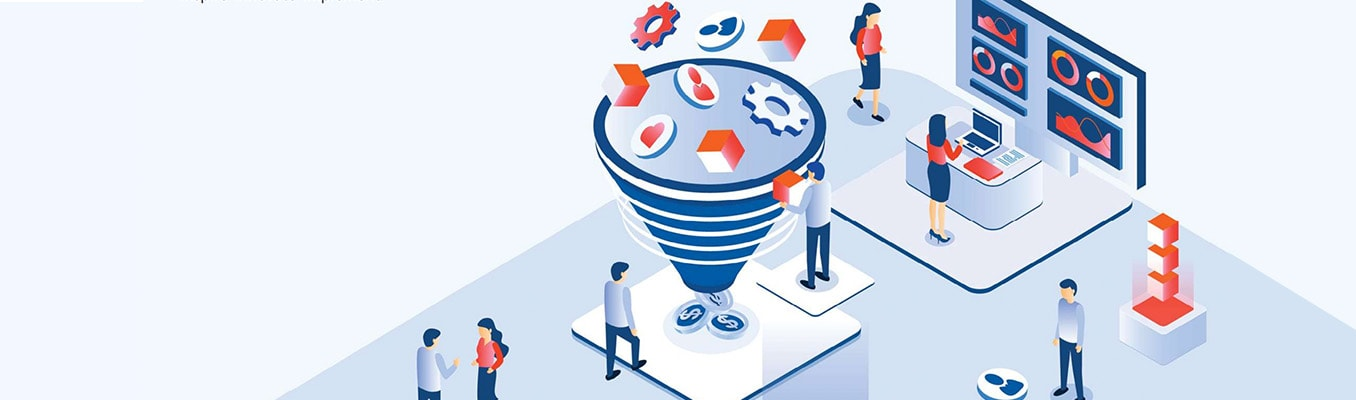 illustration of multiple business people working on a project