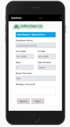 mobile screen of sharepoint