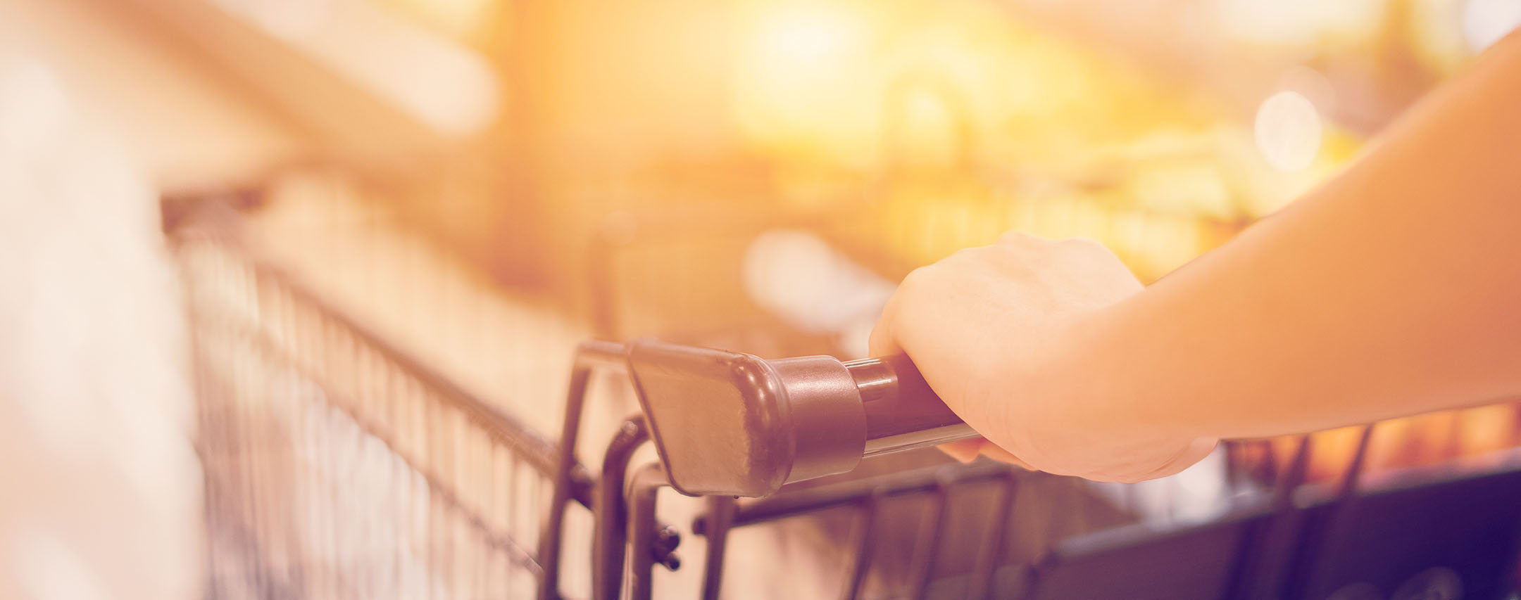 close up of woman pushing a shopping cart